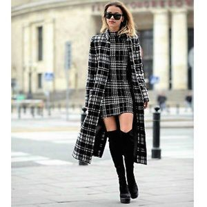 Zara | Wool Black/white Plaid Trench/Long Jacket
